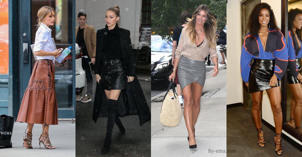 célébrités jupe en cuir
