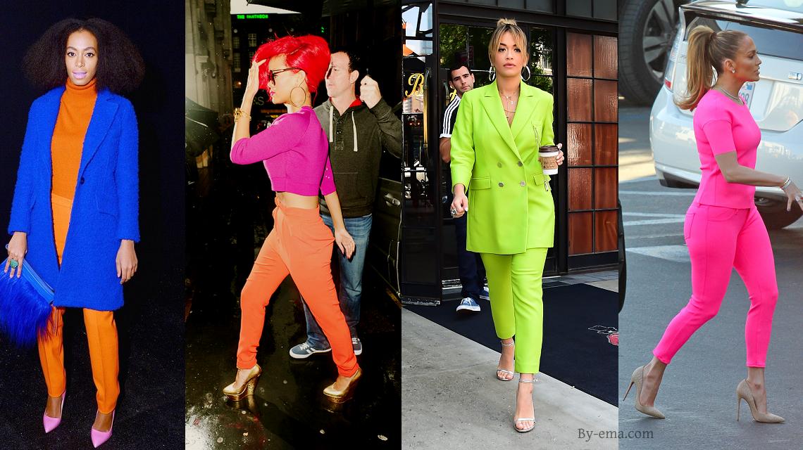 célébrités vêtements fluo